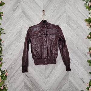 Zara Faux Leather Oxblood Moto Jacket XS